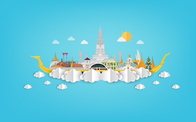 Amazing thailand with attractions on blue papercut illustration