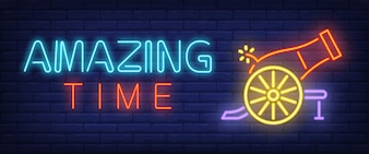 Amazing time neon style banner