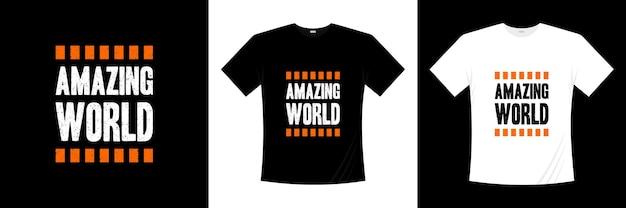 素晴らしい世界のタイポグラフィtシャツのデザイン