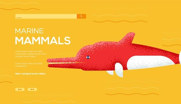 Флаер с концепцией дельфина реки амазонки, веб-баннер, заголовок пользовательского интерфейса, введите сайт. .