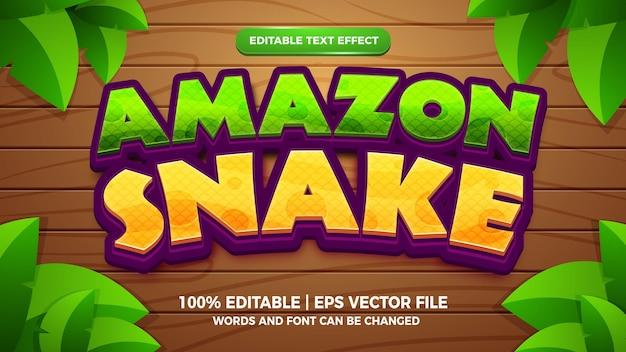 Amazon snake editable text effect 3d cartoon style