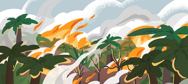 Панорама амазонского лесного пожара плоская иллюстрация