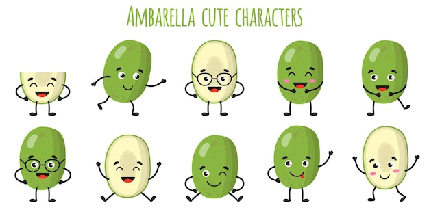 Ambarella fruit cute funny cheerful characters with different poses and emotions. natural vitamin antioxidant detox food collection.   cartoon isolated illustration.