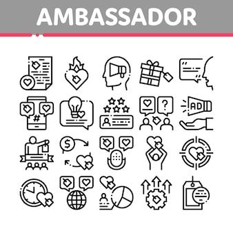 Ambassador creative collection icons set