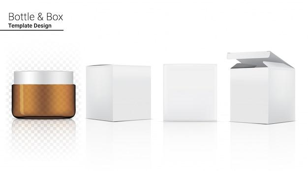 Amber bottle jar прозрачная реалистичная косметика и коробка для ухода за кожей продукт или лекарство иллюстрация. здравоохранение и медицинская концепция дизайна.