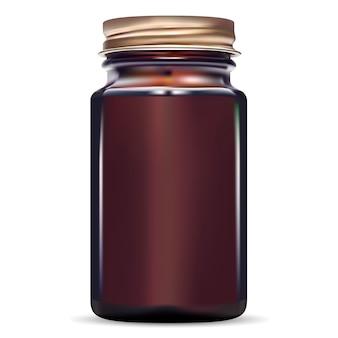 Amber glass fish cod medical jar.