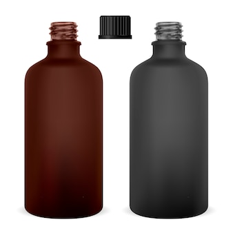 Amber medical glass bottle. supplement container