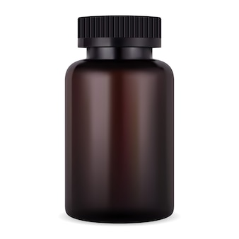 앰버 보충 병. 알약 또는 정제를위한 갈색 항아리. 현실적인 플라스틱 의학 패키지. 약국 컨테이너 템플릿