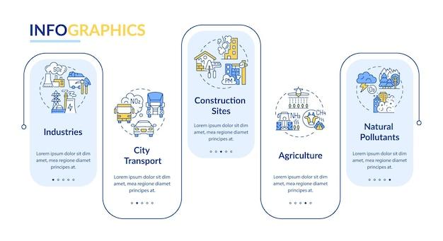 大気汚染ベクトルインフォグラフィックテンプレート。業界、建設現場のプレゼンテーションデザイン要素。 5つのステップによるデータの視覚化。タイムラインチャートを処理します。線形アイコンのワークフローレイアウト