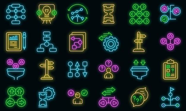 Ambiguity icons set vector neon