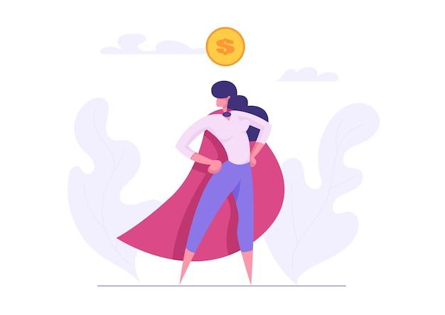 슈퍼 히어로 여자 캐릭터 일러스트와 함께 야망 비즈니스 성공 개념