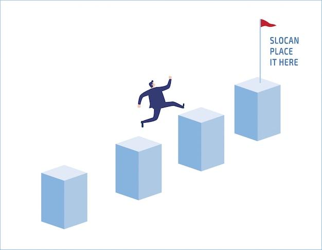 Амбиции бизнесмен прыгать на графике столбцов.