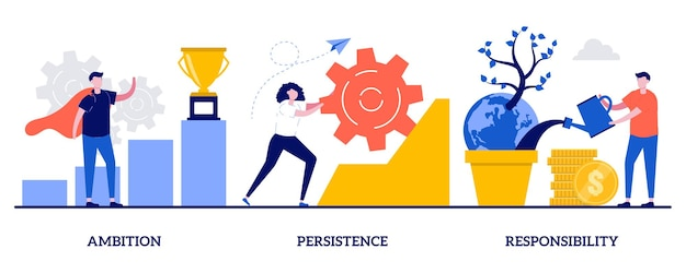 Ambition, persistence and responsibility. set of goal achievement, making fast career,