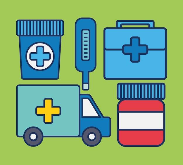 救急車および医療関連のアイコン