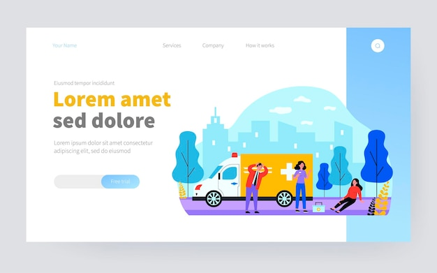 Ambulance brigade arriving to assist injured person. woman with broken leg sitting outside flat vector illustration. emergency, first aid concept for banner, website design or landing web page