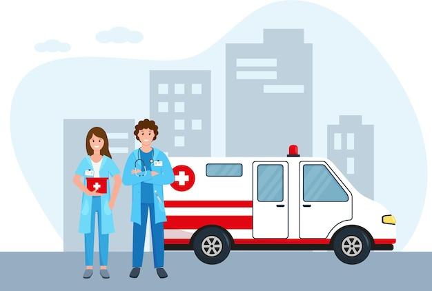 市内の救急車と医師。救急車のスタッフまたは救急医療サービスの概念。