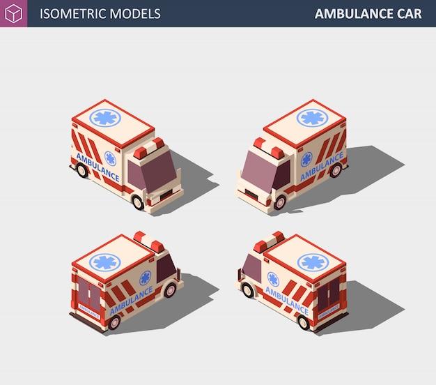 Ambulance car or emergency medical service. isometric illustration.