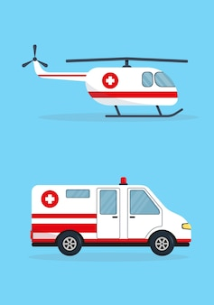 Ambulance car and helicopter isolated on blue background.
