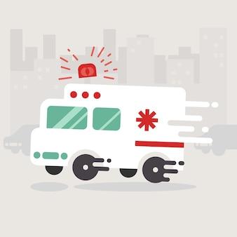救急車は急いで行く