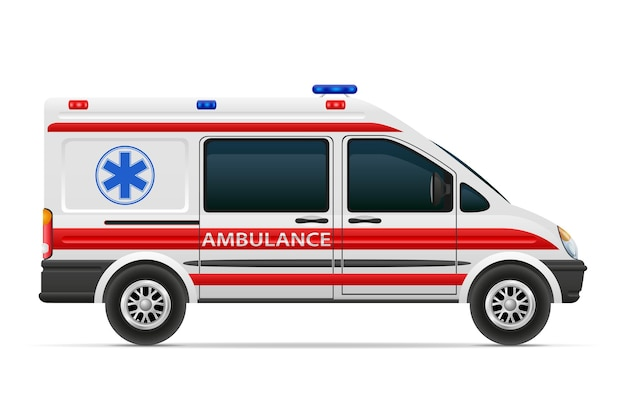 Иллюстрация медицинского автомобиля машины скорой помощи, изолированные на белом фоне