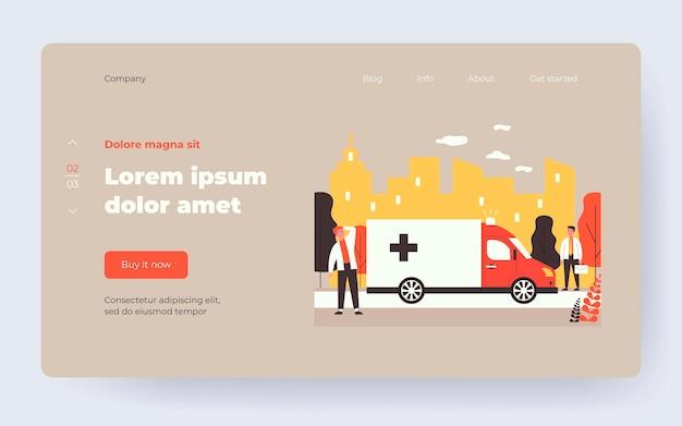 Ambulance car moving on street with loud siren. pedestrians, van, accident flat vector illustration. emergency, medical transport concept for banner, website design or landing web page