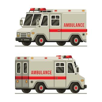 フラットスタイルの救急車の救助車の左右のビュー