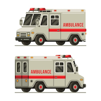 Ambulance car rescue vehicle left and right view in flat style