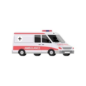 Автомобиль скорой помощи с сиреной, медицинский транспорт в аварийной ситуации.
