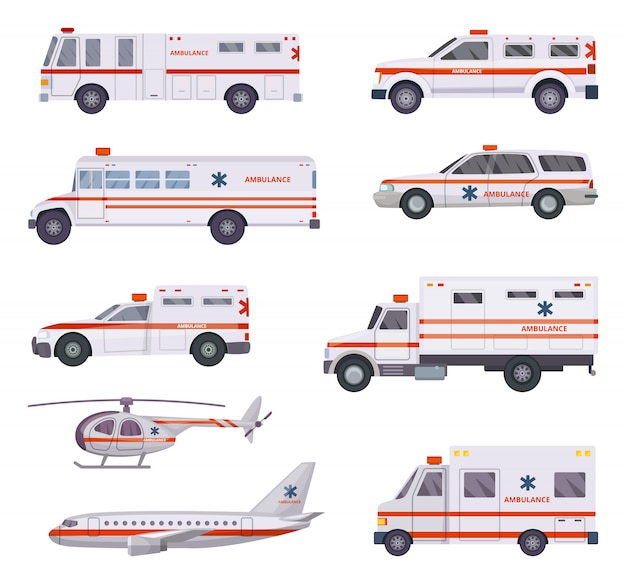 Ambulance cars. health rescue service vehicle van helicopter paramedic emergency hospital urgent auto 911 vector cartoon pictures