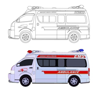 Ambulance cartoon vector with black stroke option