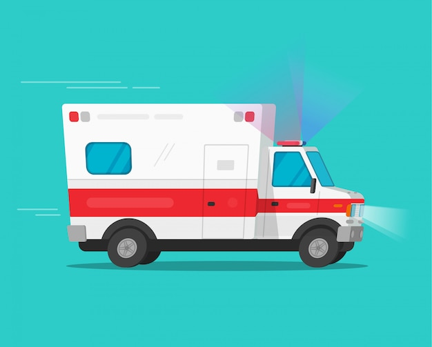 Ambulance emergency car moving fast with flasher lights or medical vehicle auto with siren