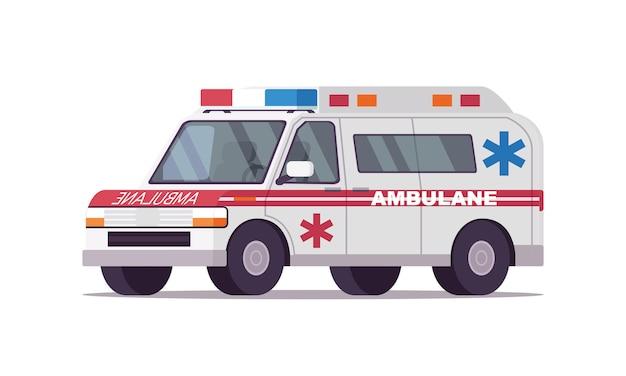 救急車の緊急車両または自動車の高速ベクトルイラスト、フラッシャーライトまたはサイレンが分離されたフラット漫画コミック医療車両自動車