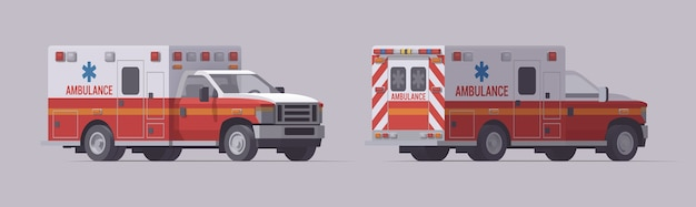 救急車緊急トラックセット。孤立した救助車。正面図と背面図。