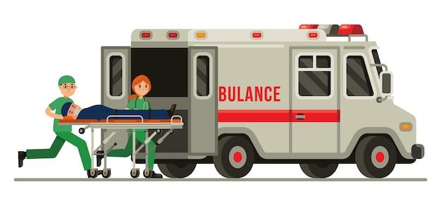 들것에 환자와 구급차 응급