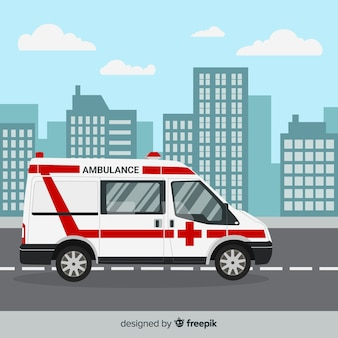 Ambulance in flat style