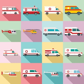 Ambulance icons set