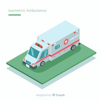 Ambulance in isometric style