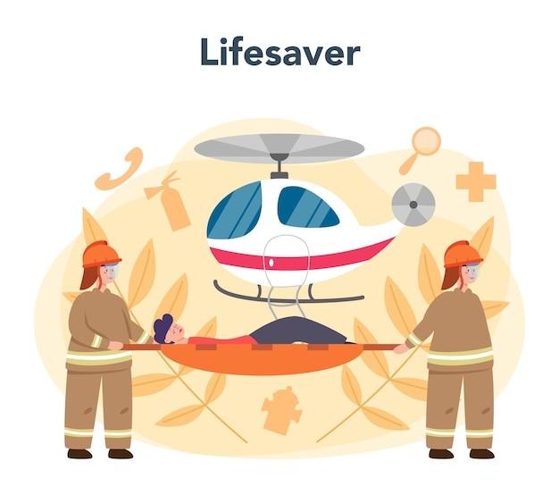 Спасатель скорой помощи в форме оказания первой помощи пострадавшему