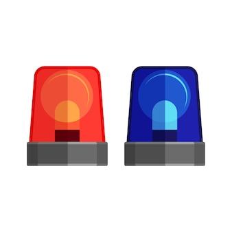 구급차 조명 흰색 절연입니다. 깜박이는 경고등 및 사이렌. 파란색과 빨간색 경찰 비콘. 경보 또는 긴급 상황을위한 구급차 점멸 장치. 플랫 스타일로 깜박이는 불빛을 경고합니다.