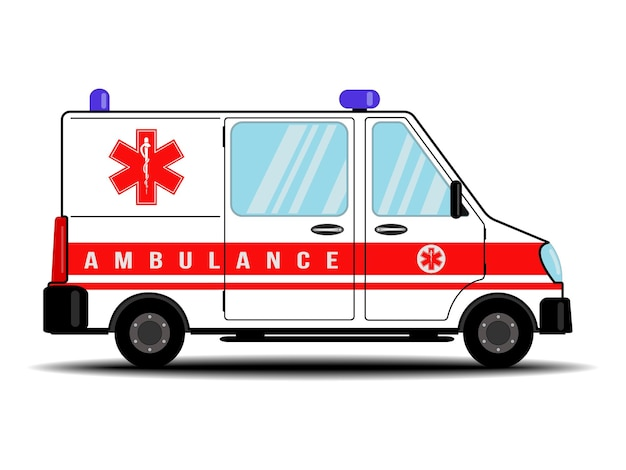 구급차, 의료. 병원 수송. 흰색 배경에 고립 된 구급차