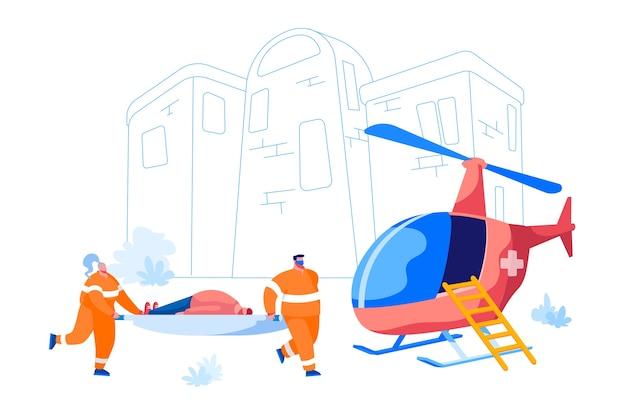 救急車医療スタッフサービス。病院で配達するために男性患者をヘリコプターに輸送する医療救助者。救急救命士のキャラクター、ヘルスケア。漫画の人々