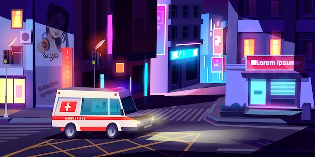 Ambulance in night city medic car with signaling riding empty metropolis street with buildings glowing neon signboards