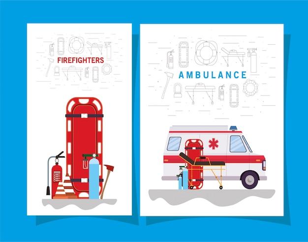 구급차 응급 차량 및 소방 관 아이콘 세트 디자인