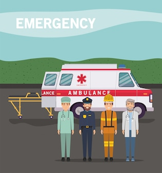 Ambulance paramedic police firefighter and doctor design