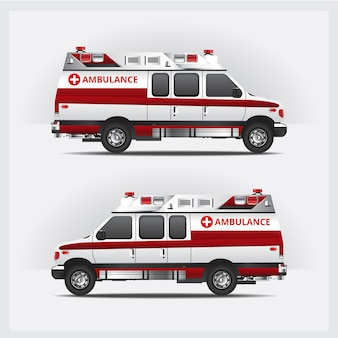 Ambulance service car isolated illustration