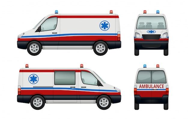 Ambulance service cars. various views of ambulance