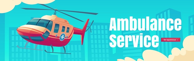 Скорая помощь мультфильм веб-баннер медицинский вертолет, летящий в небе на фоне городского городского пейзажа ...
