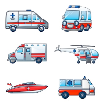 Ambulance transport icons set