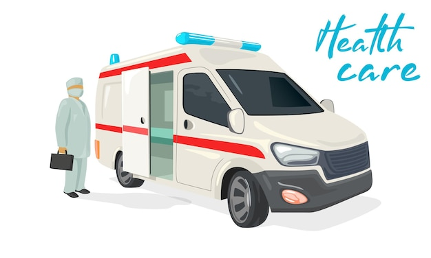 Ambulance truck for ill people doctor with kit