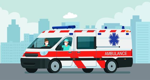 Фургон скорой помощи с водителем и врачом в медицинской маске на фоне абстрактного городского пейзажа.